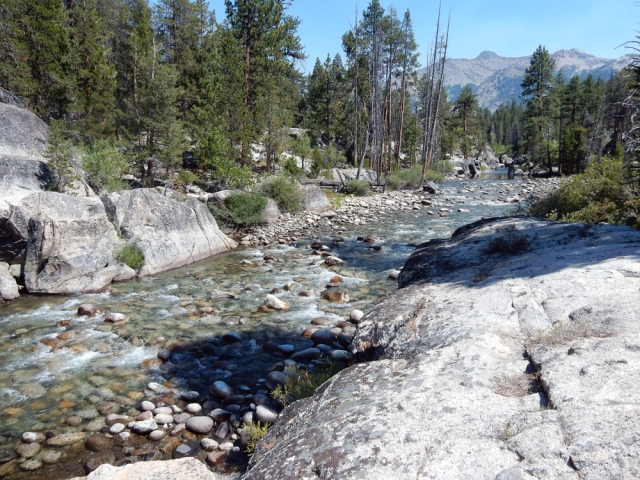 The South Fork of the San Joaquin River runs through Muir Trail Ranch, near the ranch's four tent cabins.